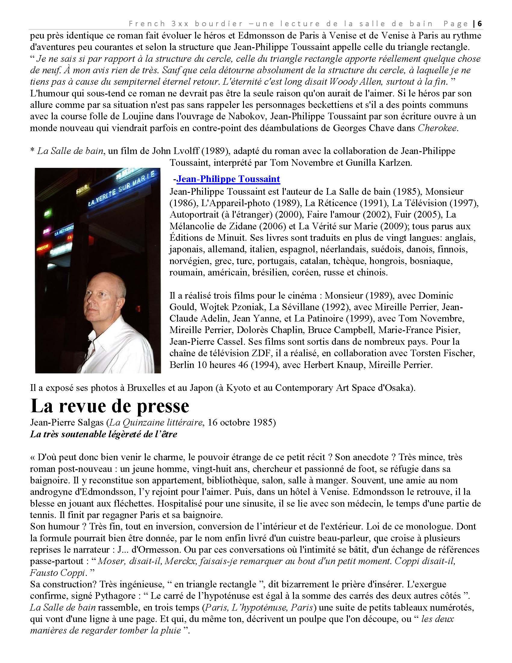 La salle de bain toussaint french again juliette bourdier for Jean philippe toussaint la salle de bain