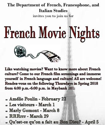 2018 Spring_French Movie Nights