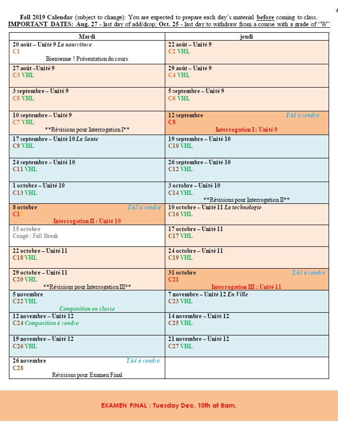Calendar 201 FALL2019